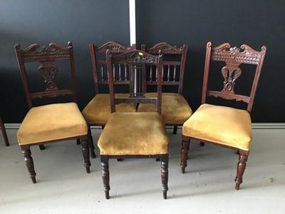 Lot 4-Matched set of five Edwardian mahogany dining...