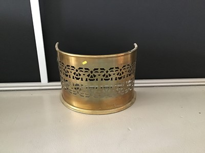 Lot 3-Narrow antique brass fender of bowed form with pierced decoration H36cm W53cm D30cm