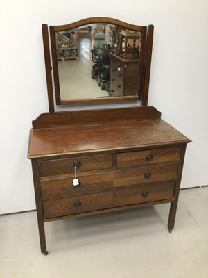 Lot 43 - 1930s mahogany dressing chest with mirrored back and two short and two long drawers below