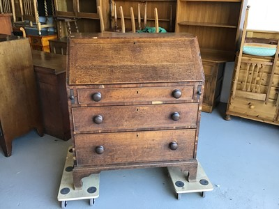Lot 26 - 19th century oak bureau with fitted interior above three drawers on bracket feet H106.5cm W90cm D48.5cm