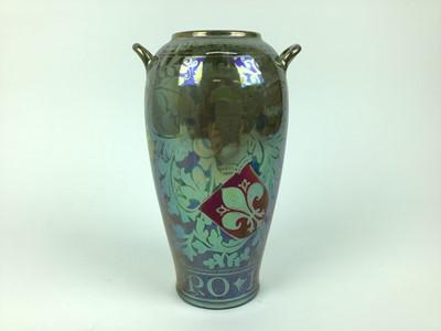Lot 20-Royal Lancastrian Lustre vase decorated with script
