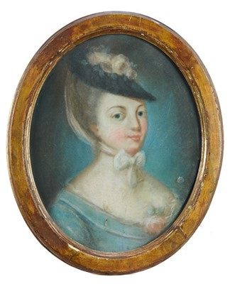 Lot 31 - French School, 18th century, pair of pastel portraits of ladies in fashionable costume, oval glazed gilt frames, 35 x 30cm