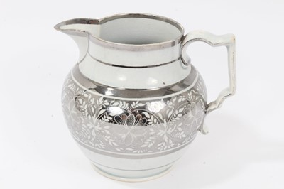 Lot 55 - Pearlware glazed silver resist jug, c.1810-20