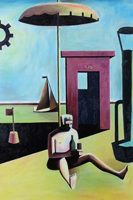Lot 30 - Ron Sims (1944-2014) oil on board - Drunk umbrella man
