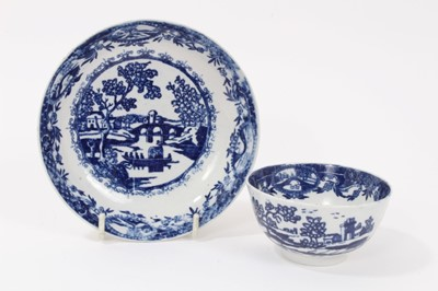 Lot 3-Liverpool blue and white tea bowl and saucer