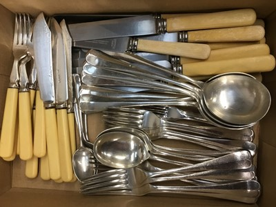 Lot 8-Silver plated Hanoverian pattern flatware with rat-tail terminals