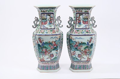 Lot 30 - Good pair of 19th century Chinese famille rose porcelain vases