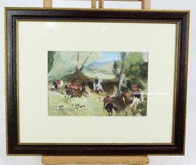Lot 62 - *Antoine de la Boulaye (b. 1951) watercolour and body colour, hunting scene, signed, 16 x 24cm, glazed frame