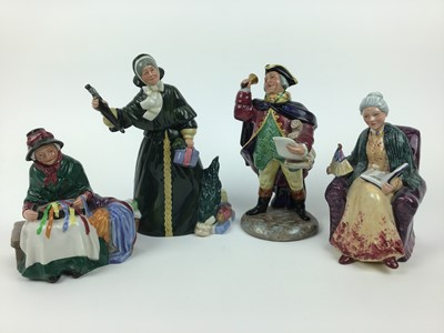 Lot 10-Four Royal Doulton figures - Silks and Ribbons HN2017, Christmas Parcels HN2851, Prized Possessions HN2942 and Town Crier HN2119