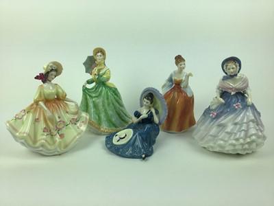 Lot 11-Five Royal Doulton figures - Elizabeth HN2946, Alice HN3368, Pensive Moments HN2704, Fleur HN2369 and Sunday Best HN2206