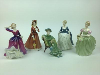 Lot 12-Five Royal Doulton figures - Clarissa HN2345, Julia HN2705, Melissa HN2467, Alison HN2336 and Ascot HN2356