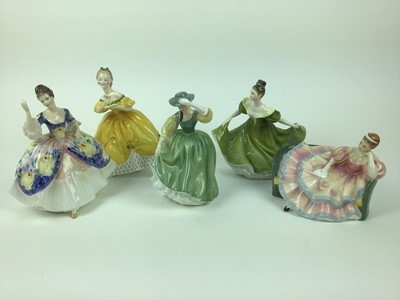 Lot 191 - Five Royal Doulton figures - Christine HN2792, The Last Waltz HN2315, Buttercup HN2309, Pauline HN2441 and Lynne HN2329