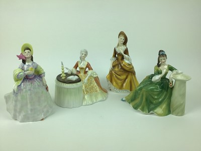 Lot 190 - Four Royal Doulton figures - Meditation HN2330, Secret Thoughts HN2382, Clare HN2793 and Sandra HN2275