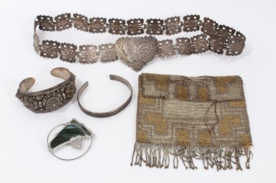 Lot 17 - Silver torque bangle, Eastern silver bangle, plated belt, abstract brooch and vintage beadwork purse