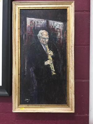 Lot 21-Terry Jeffrey Contemporary oil on canvas study of a jazz musician, signed and dated 06