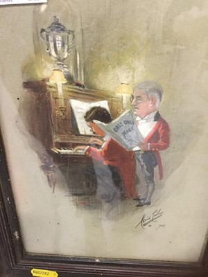 Lot 24-Cecil Cutler Edwardian watercolour study, soldiers by piano signed and dated 1905