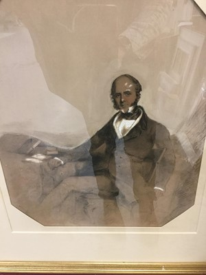 Lot 23-19th Century mixed media portrait of a seated gentleman in glazed gilt frame