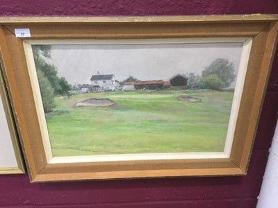 Lot 22-Anne Valerie Gower oil on board study of a golf course, mounted in frame