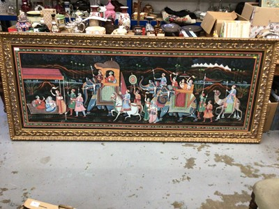 Lot 7-Huge framed Indian painting on cloth of a processional scene