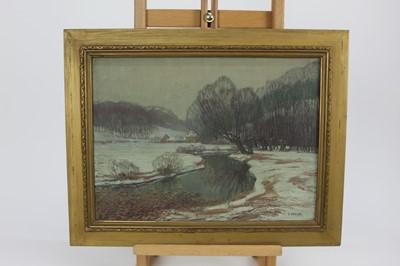 Lot 13-E. Miesler winter scene, oil on canvas, c.1930s