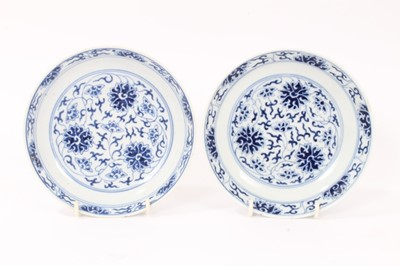 Lot 4 - Pair of Chinese Guangxu blue and white saucer dishes