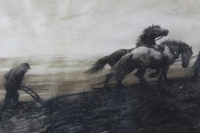 Lot 24-Herbert Thomas Dicksee (1862-1942) signed black and white etching - The Last Furrow, signed in pencil lower left, published by Frost & Reed 1899, in glazed gilt frame, 31cm x 60cm