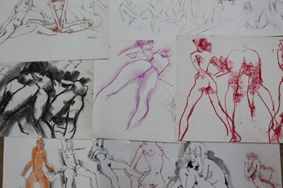 Lot 18-Folder of nude females by Peter Collins (1923-2001) approx 50 together with original exhibition invitations to shows in Rottingdean, Sussex and Fulham road SW10 etc