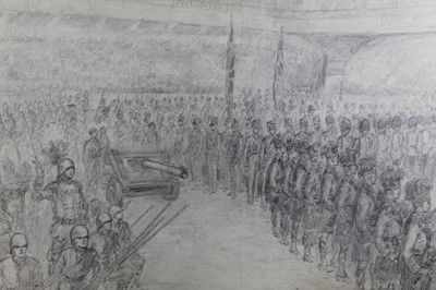 Lot 122 - Bryan De Grineau pencil drawing- The Royal Tournament, Earls Court, possibly for London Illustrated News