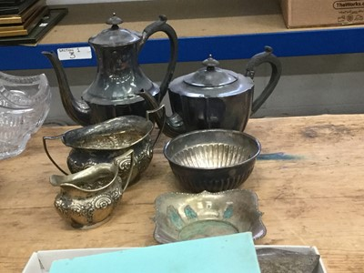 Lot 12-Silver plated tea and coffee pots by Walker & Hall, together with silver plated cutlery and other plated wares