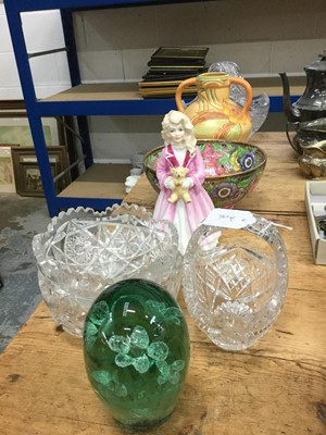 Lot 11-19th Century Stourbridge glass dump weight, together with a Royal Doulton figure 'Faith' HN3082, a Malling bowl and cut glass wares