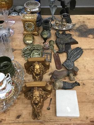 Lot 14-Pair of gilt cherub wall brackets, egg cruet, clock and sundries including horse brasses