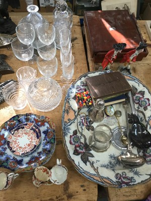 Lot 17-Group of cut glass decanters together with ceramics, silver plated ware and sundries