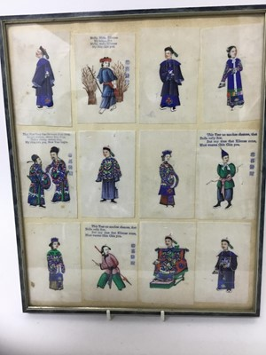 Lot 60 - Set of twelve Chinese miniature paintings on rice paper