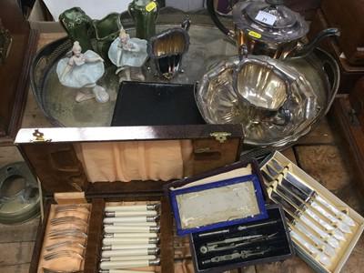 Lot 21-Various silver plate, draughtsmans set, ceramics.