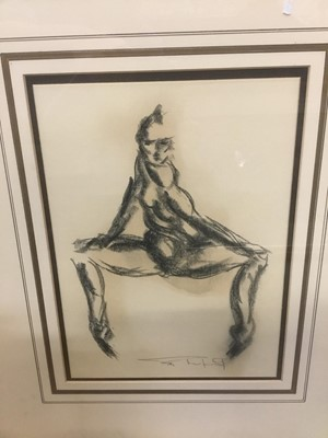 Lot 147 - Tom Merrifield (b. 1932) Contemporary charcoal study, figure, indistinctly signed, framed, together with a large print