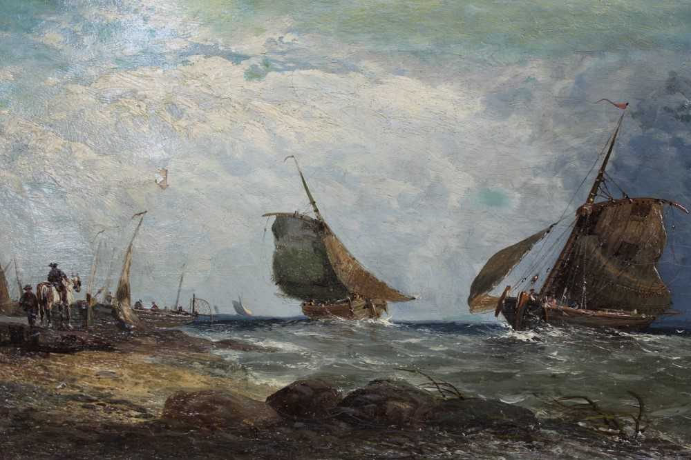 Lot 16-19th century oil on canvas 'Dutch fishing on the coast of Fife, signed G Milne and inscribed as titled verso, unframed