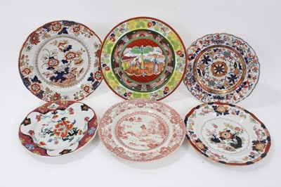 Lot 77 - A Masons Ironstone plate, in famille verte style, and five other Ironstone plates