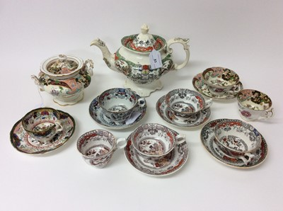 Lot 70 - A Staffordshire porcelain teapot and cover, in Chinese style, a similar sucrier and cover and other items