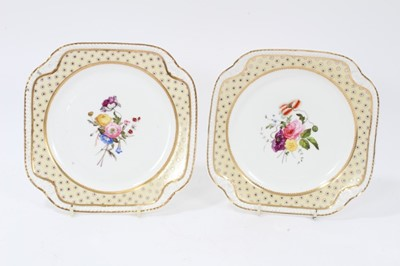 Lot 79 - A pair of Spode yellow ground plates, circa 1825