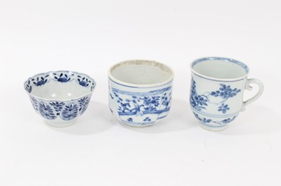 Lot 74 - An 18th century Chinese blue and white tea bowl, a beaker and a bowl