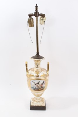 Lot 67 - Derby vase, probably painted by Dodson, circa 1820, now mounted as a table lamp