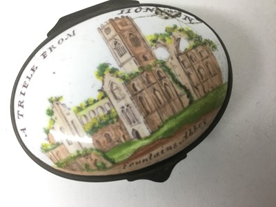 Lot 19-A South Staffordshire enamel patch box 'A Trifle from Honiton' circa 1800-20