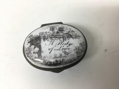 Lot 20-A South Staffordshire enamel patch box 'A Pledge of Love' circa 1810-20