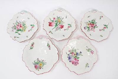 Lot 81 - Five Luneville flower painted leaf shaped dishes