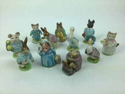 Lot 181 - Eleven Beswick Beatrix Potter figures - Ribby, Mr Jackson, Tom Kitten, Little Pig Robinson, Mr Benjamin Bunny and Peter Rabbit, Jemima Puddleduck, Aunt Pettitoes, Peter Rabbit, Samuel Whiskers, Pig...
