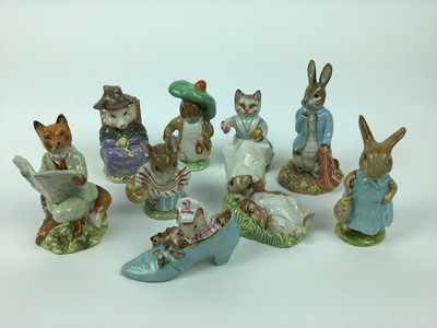 Lot 182 - Five Beswick Beatrix Potter figures - Benjamin Bunny, Tabitha Twitchett, The Old Woman who lived in a Shoe, Mrs Flopsy Bunny and Mts Tittlemouse plus four Royal Albert Beatrix Potter figures - Foxy...