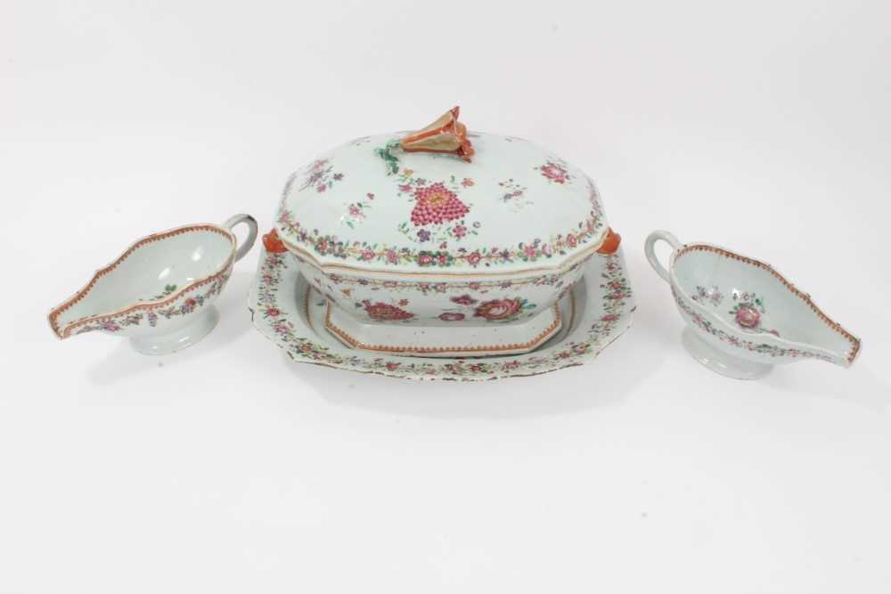 Lot 3-Good collection of 18th century Chinese famille rose dinner wares