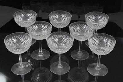 Lot 16-A good set of eight Edwardian cut glass champagne coupes, diamond pattern, 12cm height