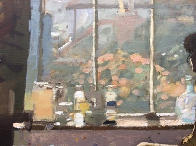 Lot 1185 - *Ken Howard (born 1932) - oil on canvas - female nude in artist's studio, titled 'Sarah, Moussehole Interior II'. Exhibited at the New Grafton Gallery29.3.90, 121cm x 100cm