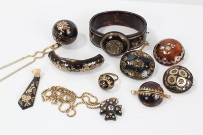 Lot 3-Collection of 19th century piqué work jewellery